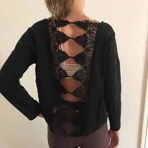 Tops - Black Long-Sleeved Top with Detailed Back